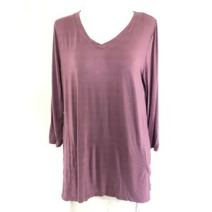 LOGO by Lori Goldstein Knit Top with Pleat Back M